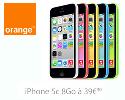 actualité : Vente Flash Orange sur l'iPhone 5c 8Go à 39,90€